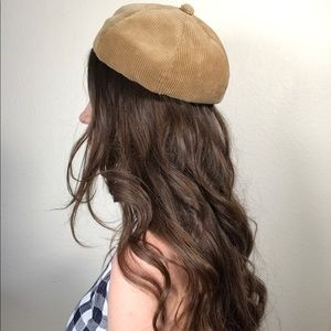 Vintage 1920's corduroy union made beret calot cap